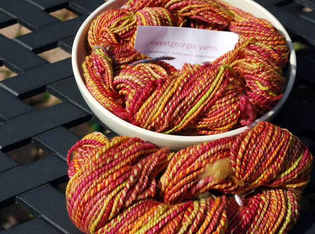 Handspun Corriedale handdyed wool yarn by irieknit