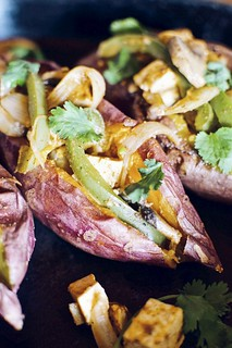 tofu fajita stuffed sweet potatoes | by Hapaway