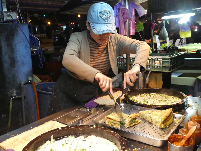 Omelette being prepared at the night market, Taipei