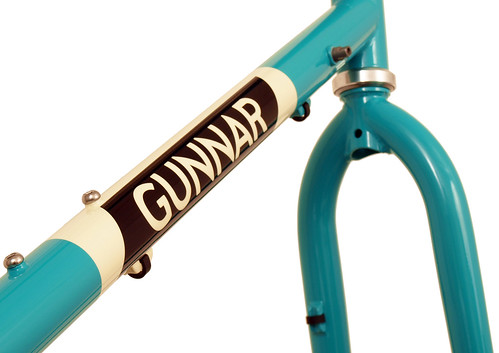 "Downtube detail of Turquoise with ""Panda"" Panels on a Grand Disc 