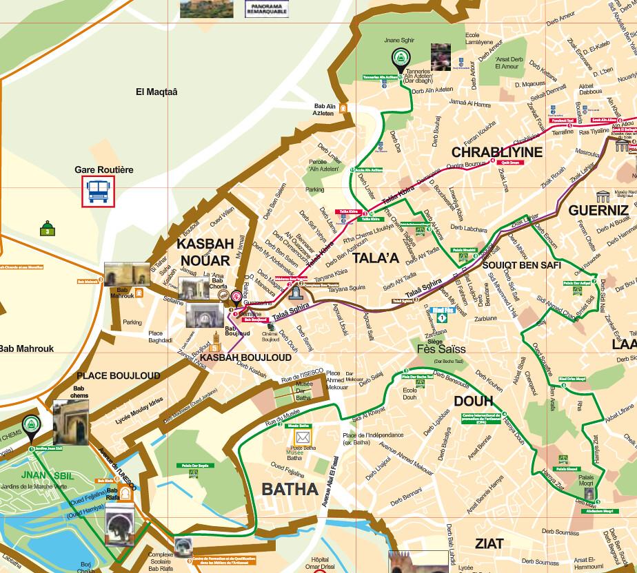 Carte de Palais et jardins andalous à Fès : A suivre le tracé en vert.