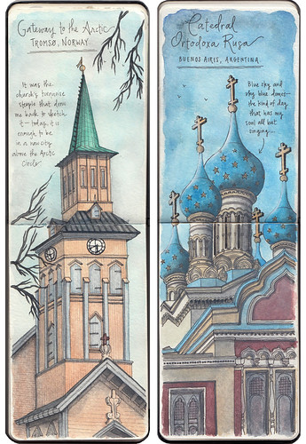 Sketching the Tromsø Cathedral in northern Norway, and the Russian Orthodox Cathedral in Buenos Aires, Argentina. Artist Candace Rose Rardon