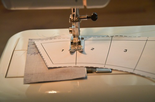 3. Sew along line between 1 & 2 rectangles.