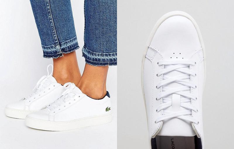 Capsule Wardrobe Pieces - 16 Classic White Sneakers to Shop \ Lacoste L.12.12 Premium Retro Trainers
