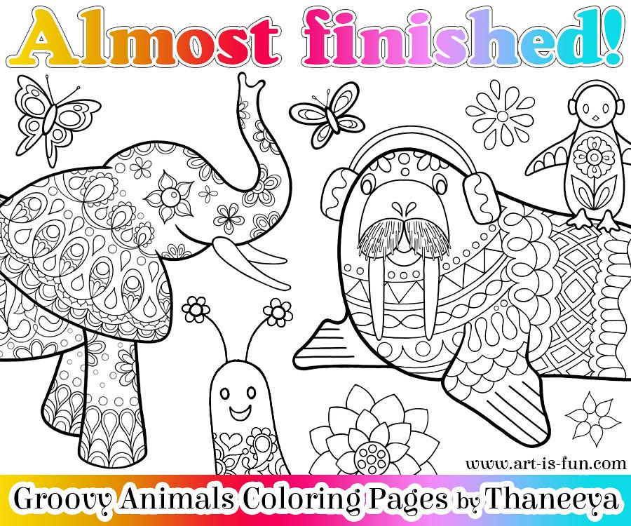 Sneak Peek Groovy Animals Coloring Book By Thaneeya McArdle