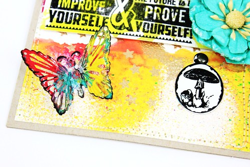 Meihsia Liu Simply Paper Crafts Mixed Media Card Butterfly Tim Holtz Prima Flowers Simon Says Stamp 4