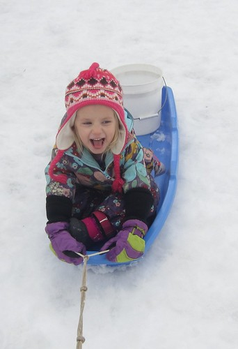 funny girl in a sled