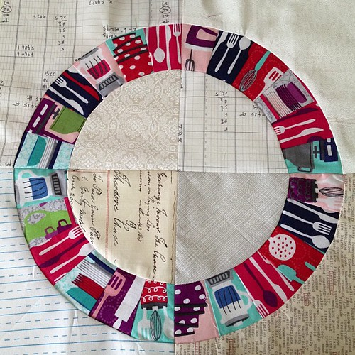 Another block for my Ring Toss quilt. This one has my new Table Talk fabrics. Oh this is so fun! | by lauriewis | Laurie Wisbrun