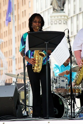 Students from J.C. Heard JazzWeek@Wayne perform at Campus Martius | by Wayne State University