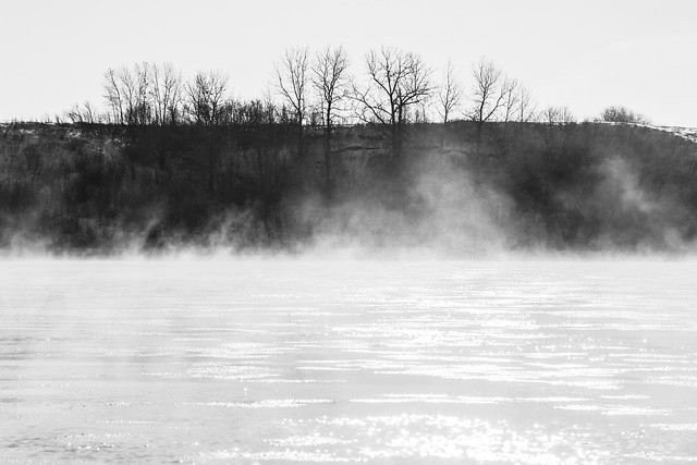 ice and fog  on the river