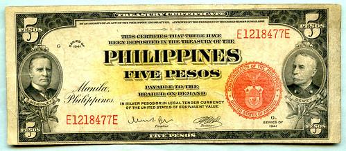 1941 Series Philippine Islands Treasury Certificate 5 Pesos WWII Processed Banknote