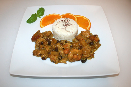 53 - Indian chicken fruit curry - Served / Indisches Früchtecurry - Serviert
