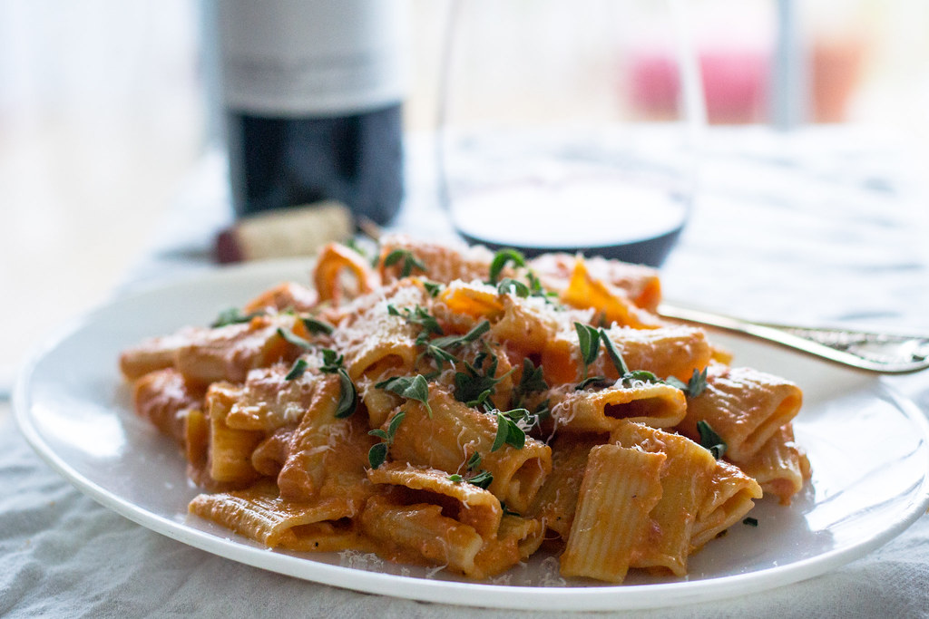 Penne alla vodka is a decadent pink vodka sauce, cooked low and slow with fresh oregano, sweet San Marzano tomatoes and a healthy amount of Parmigiano.