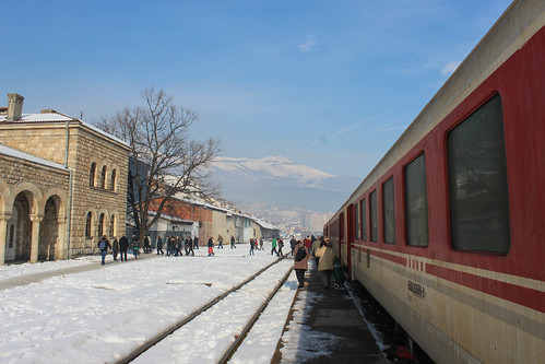 Train from Pristhinë at Pejë train station | by Timon91