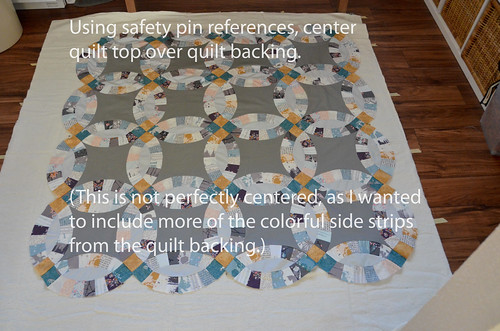 3. Place quilt top on top, centering with quilt backing safety pins.