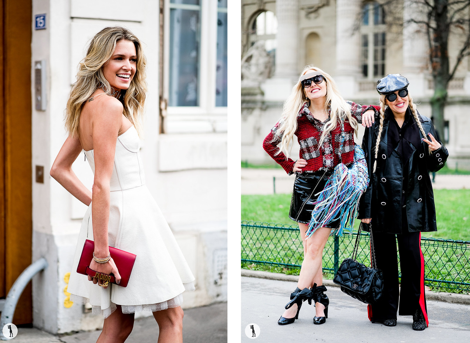 Street style - Paris fashion week FW17-18. Bloggers Helena Bordon and Beckerman sisters
