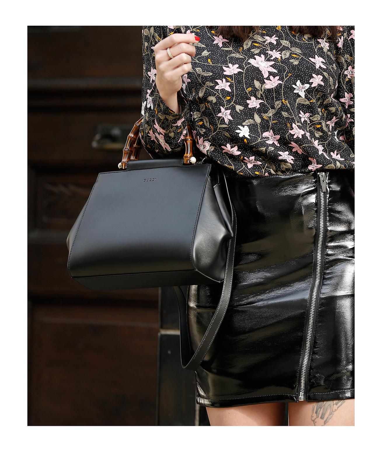 spring vibes vila floral blouse dress patent leather skirt asymmetric zipper gucci nymphaea bag saint laurent sandals cats & dogs ricarda schernus modeblogger fashionblogger outfit blogger 1