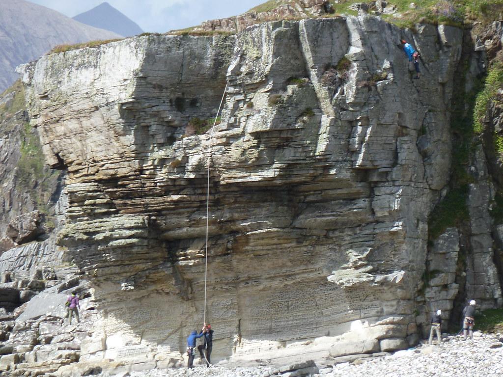 Rock climbing at Elgol, Skye, Scotland.