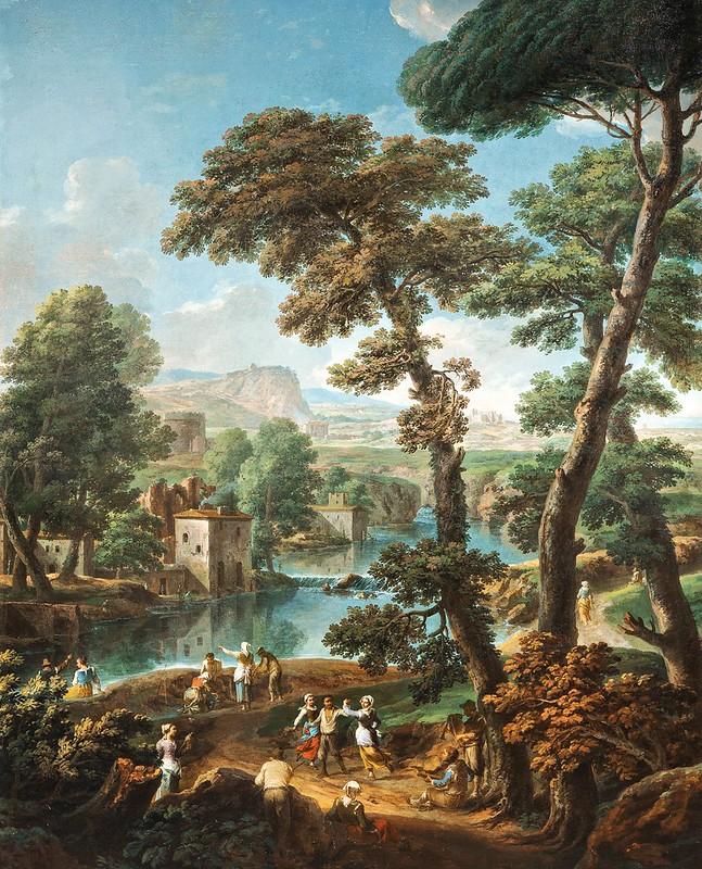 Paolo Anesi - Paesaggio fantasioso con rovine e figure