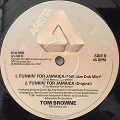 TOM BROWNE:FUNKIN' FOR JAMAICA(1991 REMIX)(LABEL SIDE-B)