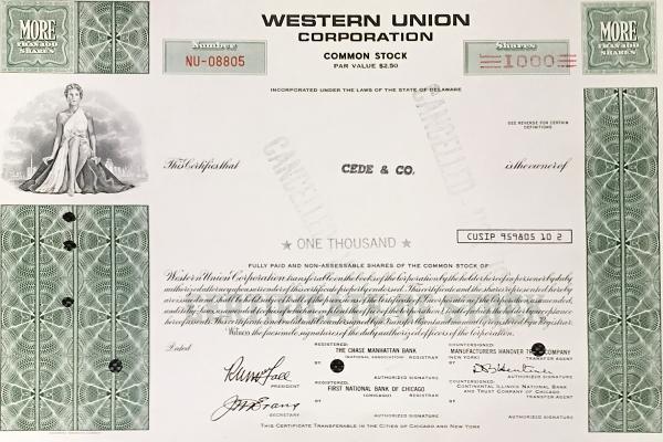 Dekoratívna akcia Western Union na 2500 dolárov USA