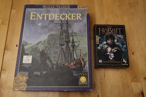 """Brettspiel """"Entdecker"""" und Kartenspiel """"Der Hobbit: Kampf um den Arkenstein"""""""