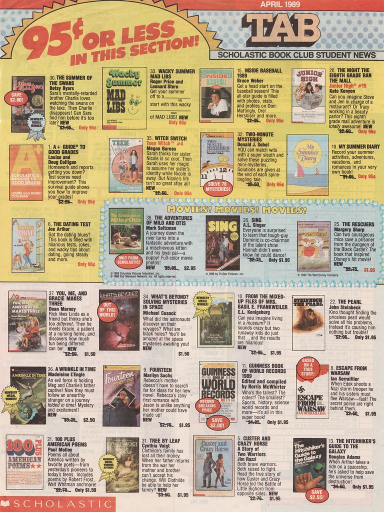 Scholastic Book Order Form, 1989 | Front page of the Scholas… | Flickr