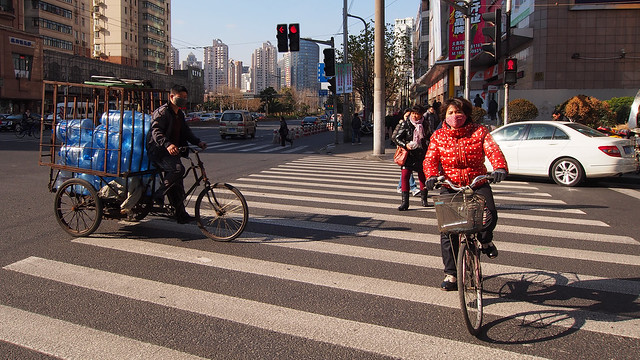 Puxi Shanghai Chinese People on Bicycles