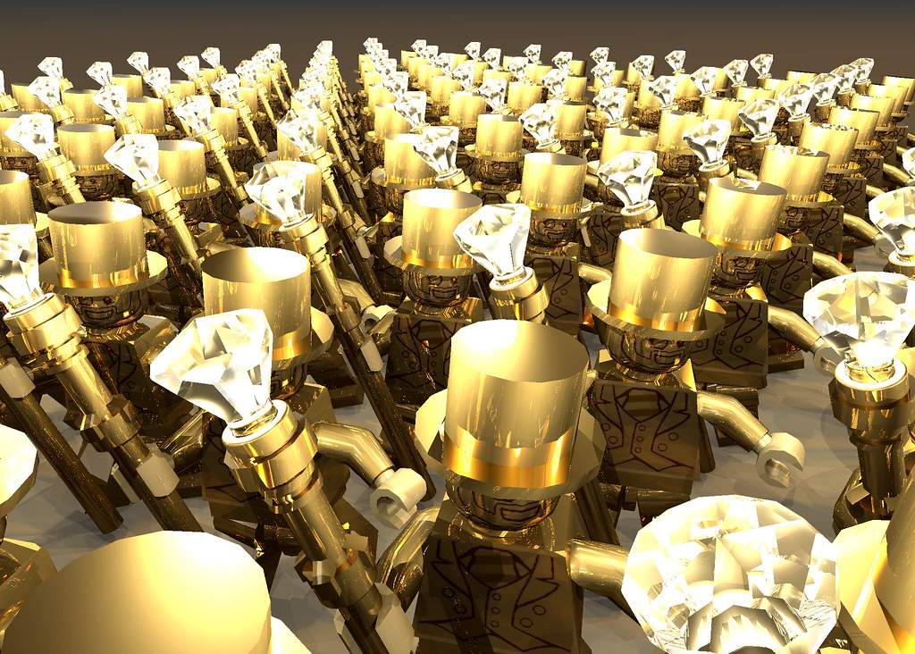 Lego 100 Mr Gold with LED diamonds LDD2povray render test | Flickr