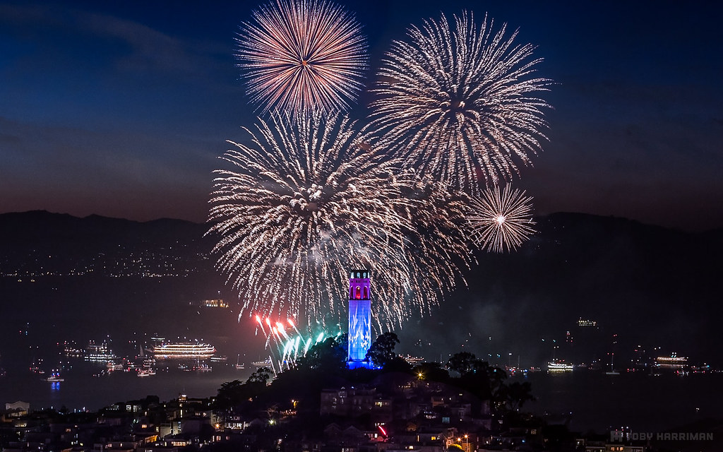 Image result for san francisco fireworks from telegraph hill coit tower