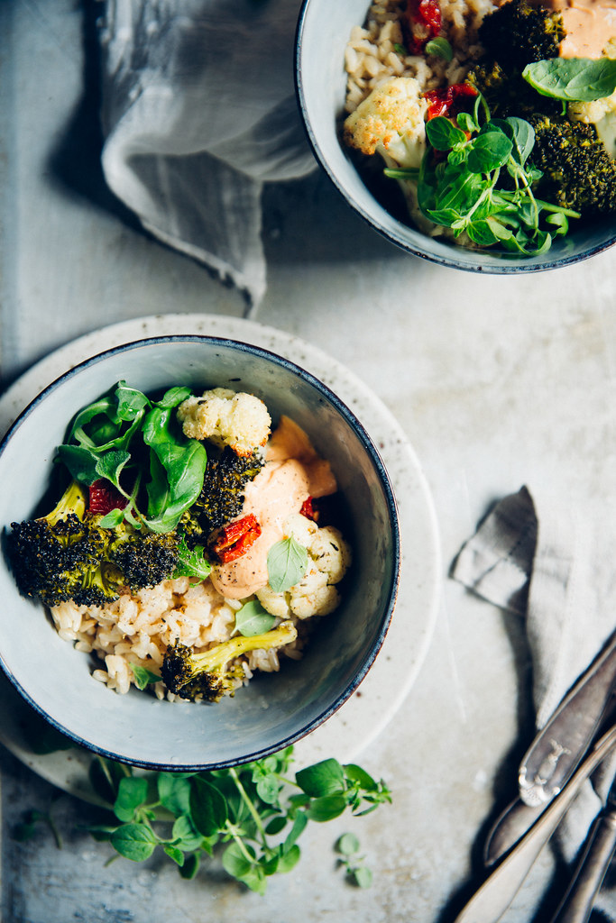 Cumin Roasted Cauliflower & Broccoli with Cheesy Vegan Cashew & Sun Dried Tomato Sauce | Cashew Kitchen