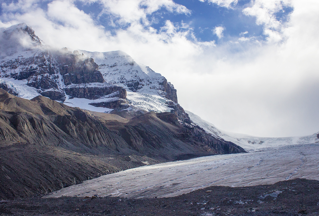 The retreating Athabasca Glacier