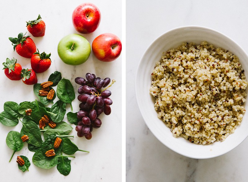 STRAWBERRY, APPLE + QUINOA SPINACH SALAD