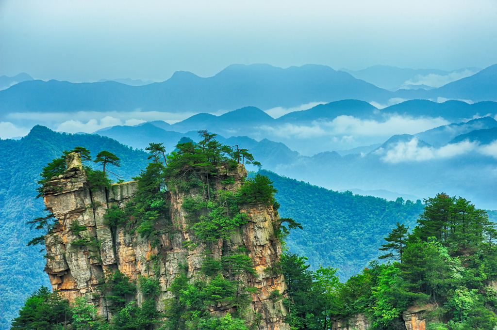 Looking West from top of Tianzi mountain