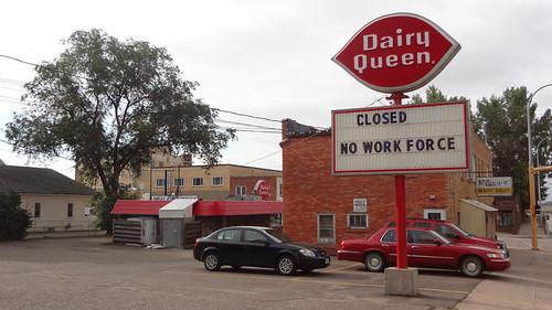 closed no workforce dairy queen sign in downtown bismarck