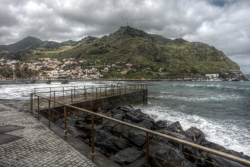 Madeira - Machico - view acrosss the bay on a stormy day