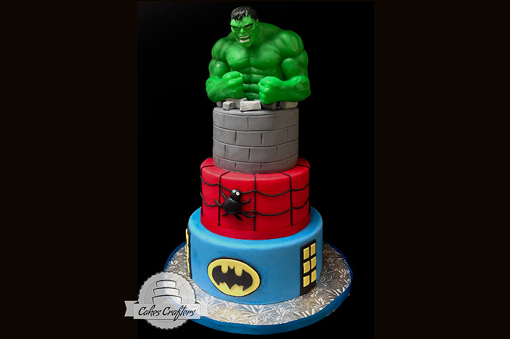 Batman Spiderman Hulk Cake Three Tiers 10 8 And 6 Hulk Flickr