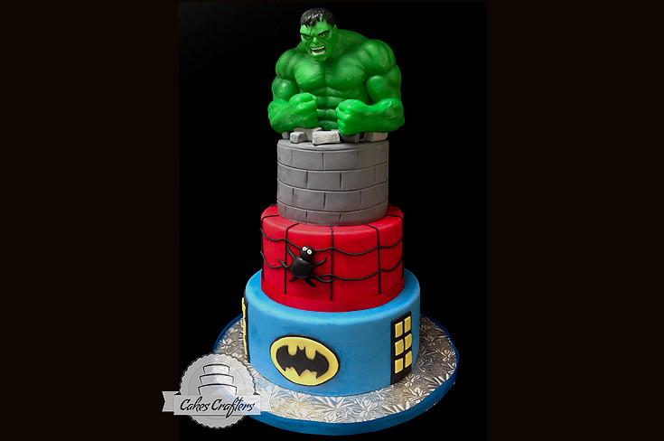 Batman Spiderman Hulk Cake Three tiers 10 8 and 6 Hulk Flickr