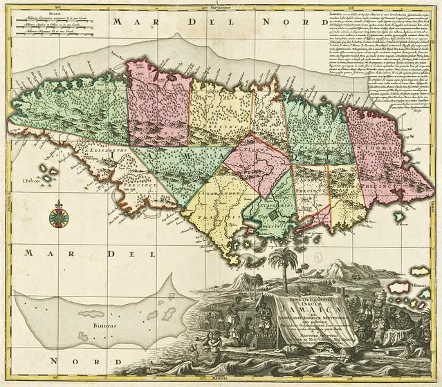 Nicolaes Visscher - Nova Designatio Insulae Jamaicae ex Antillanis Americae Septentrion. non postremae Secundum Gubernationes (1744)