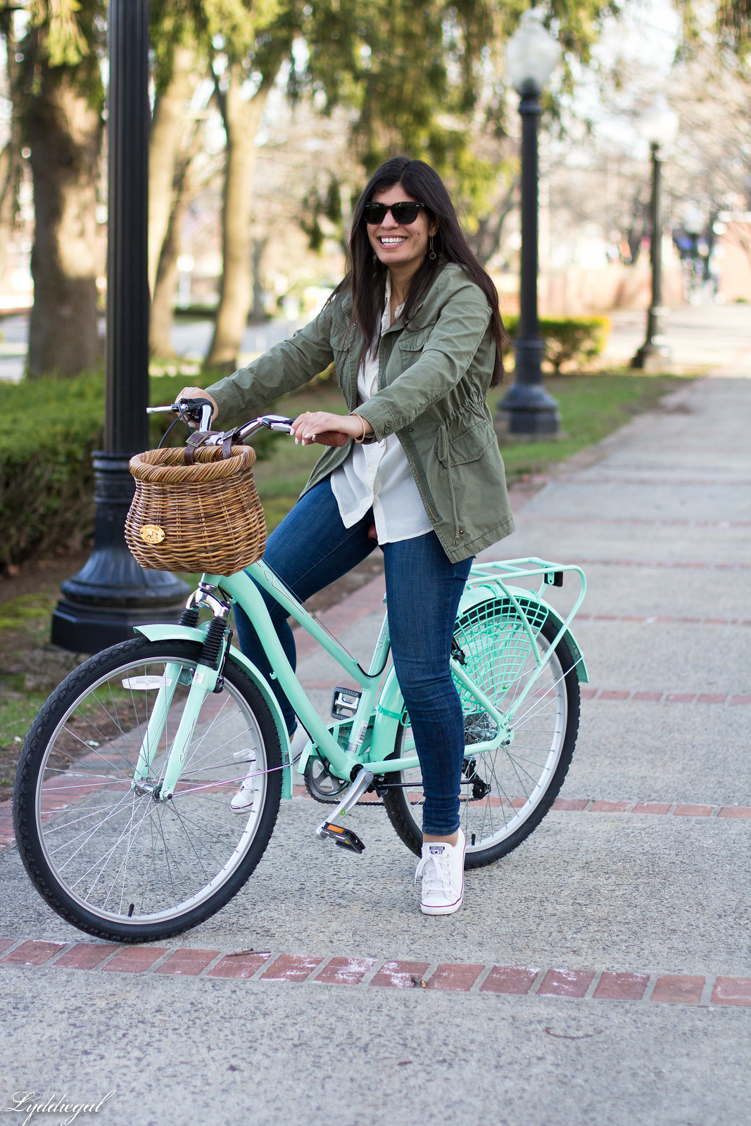 bike riding outfit, white shirt, green field jacket, white converse-5.jpg