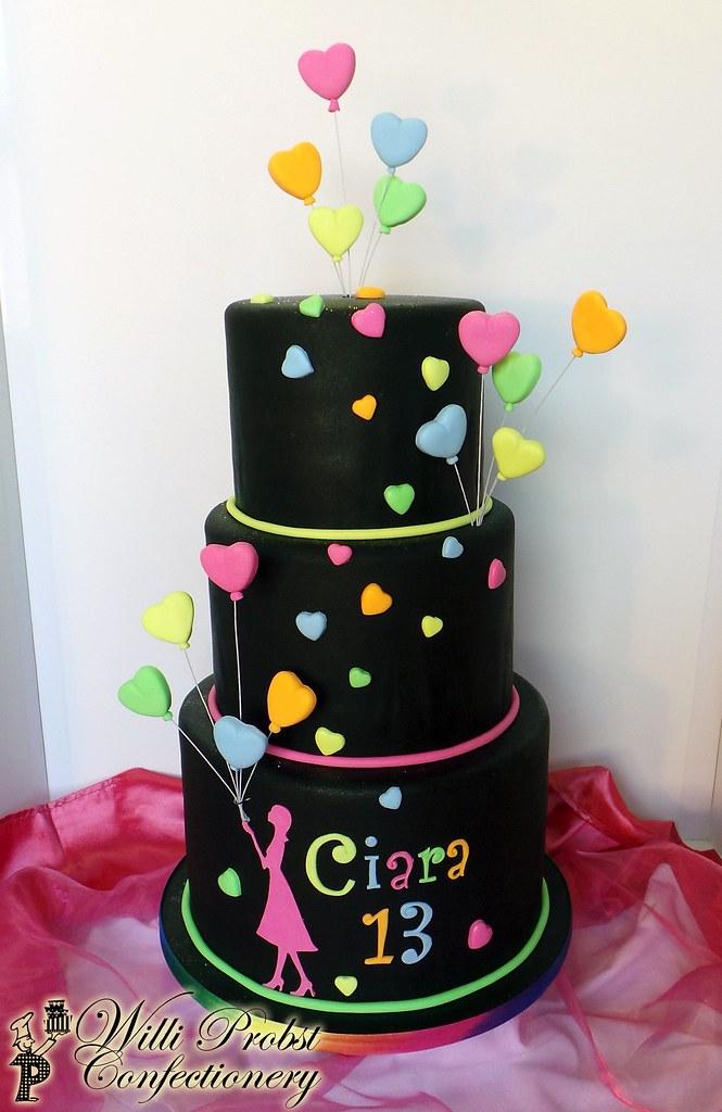 Neonlumo Colored Heart Balloon Birthday Cake Willi Probst Bakery
