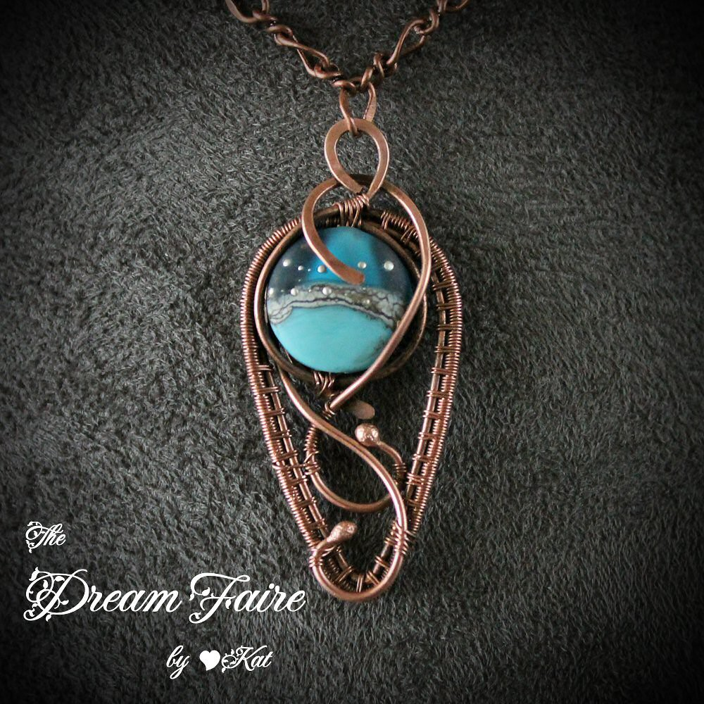 Blue Seed of Life Pod - Lampwork and Copper Wire Wrapped N… | Flickr
