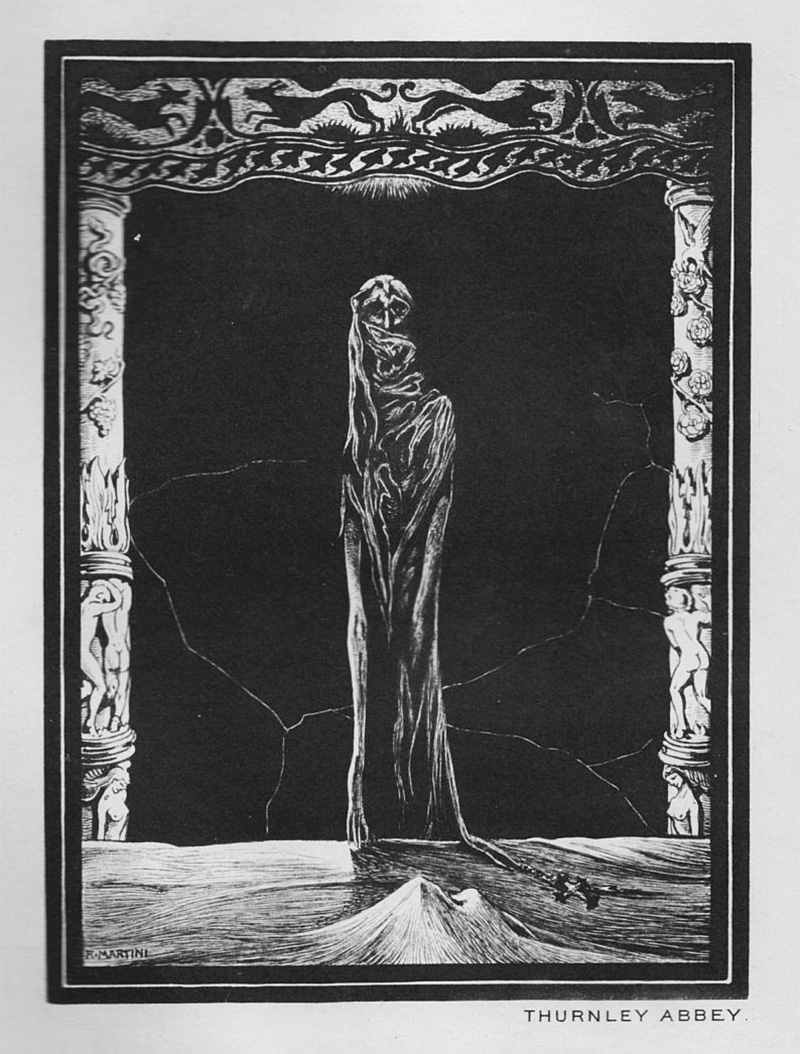 """Alberto Martini - Illustration from """"Thurnley Abbey"""" published in Raw Edges by Perceval Landon, 1908"""