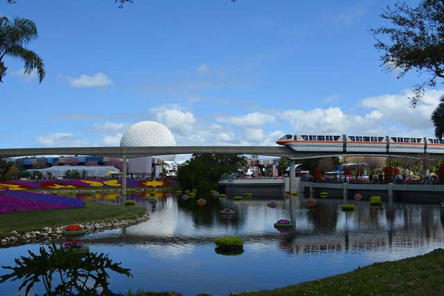 Monorail & Spaceship Earth from Promenade