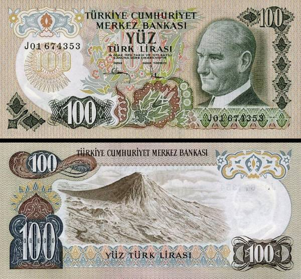 100 tureckých lír Turecko 1970, P189a