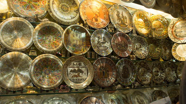 Copper decorative plates in Khan El-Khalili