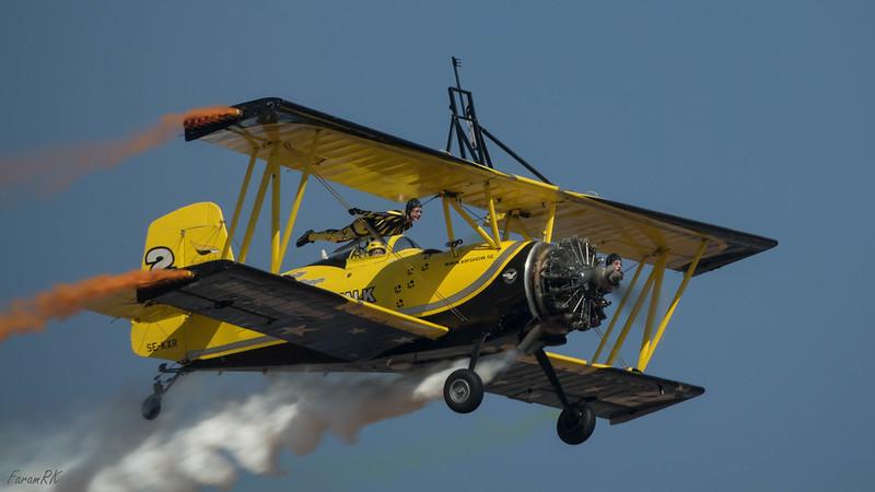 Scandinavian Airshow Grumman Ag Cat 'Catwalk' & Skycats wing walkers