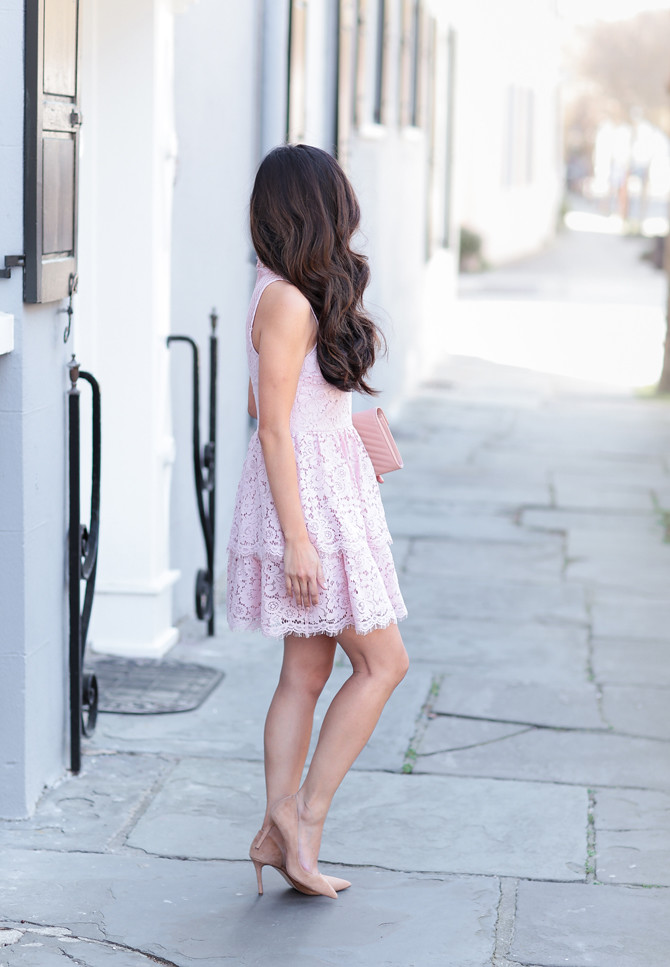 spring wedding pink lace dress petite women outfits