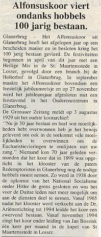 1999-11-30 Alfonsuskoor viert ondanks hobbels 100 jarig best