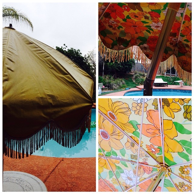 Vintage Vinyl Fringe Patio Umbrella. We Have Six Of These In Stock Right  Now.